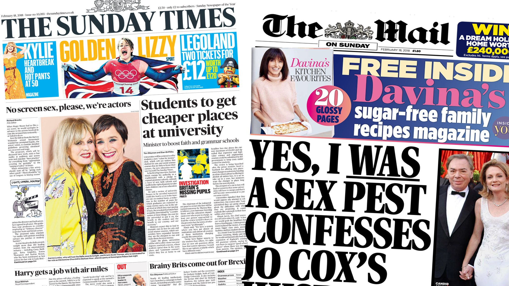 Newspaper headlines: Plans to cut student fees and Brendan Cox quits