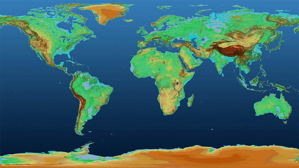 El espectacular mapa en 3D que muestra la superficie de la Tierra como nunca la ...
