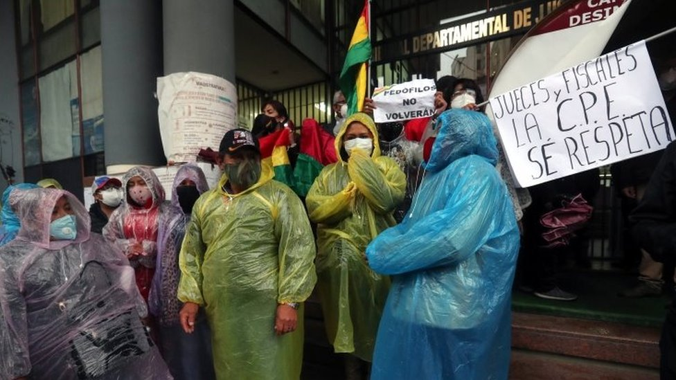 People protest for the disqualification of the former President Evo Morales' candidacy for a Senate position, in La Paz, Bolivia, 07 September 2020