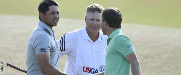Jason Day, caddie Colin Swatton and Kevin Kisner