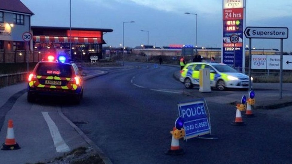 Police road closure at Tesco Extra in Great Yarmouth
