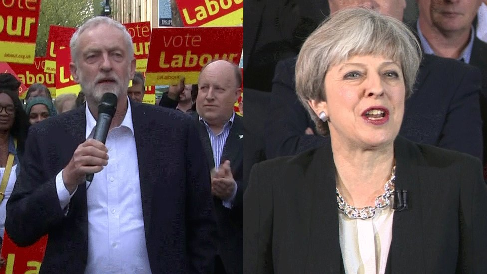 Jeremy Corbyn and Theresa May speaking in Croydon and Bolton respectively