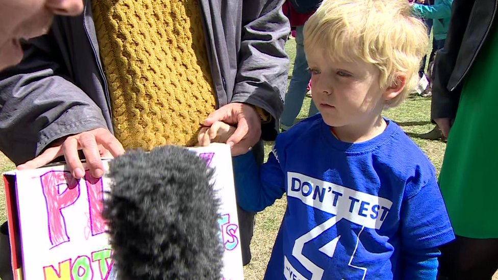 Four-year-olds in Westminster protest