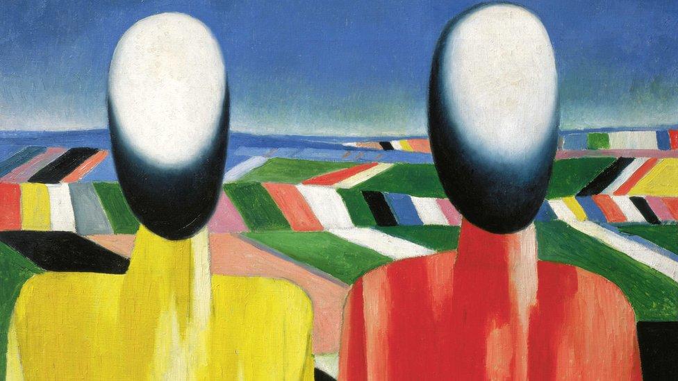 """Campesinos"", de Kazimir Malevich (c. 1930). Óleo sobre tela. Crédito: Royal Academy of Arts"