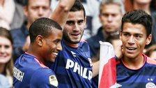 Gaston Periero celebrates scoring against Ajax