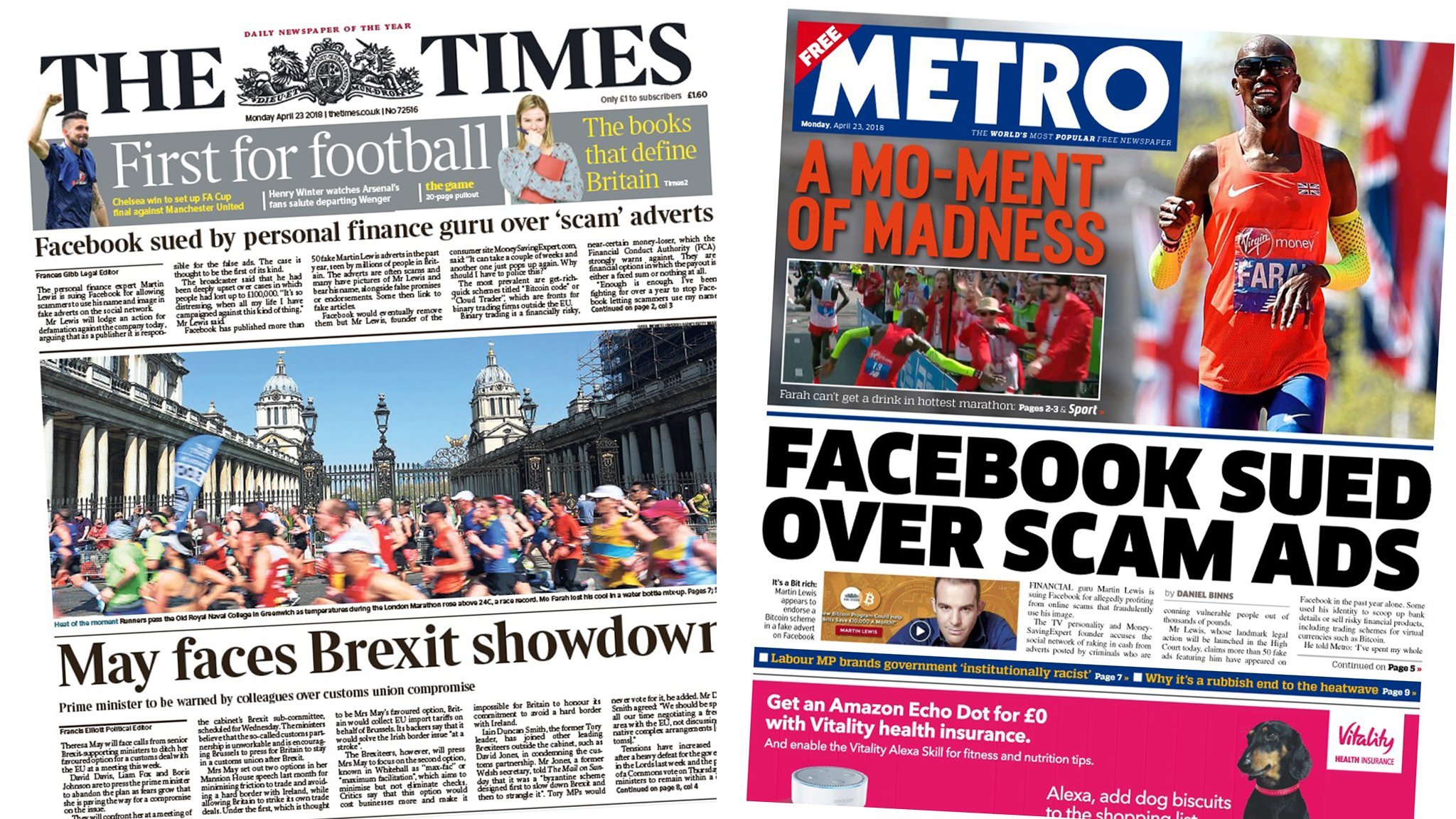 The Papers: 'Brexit showdown' and Facebook scams