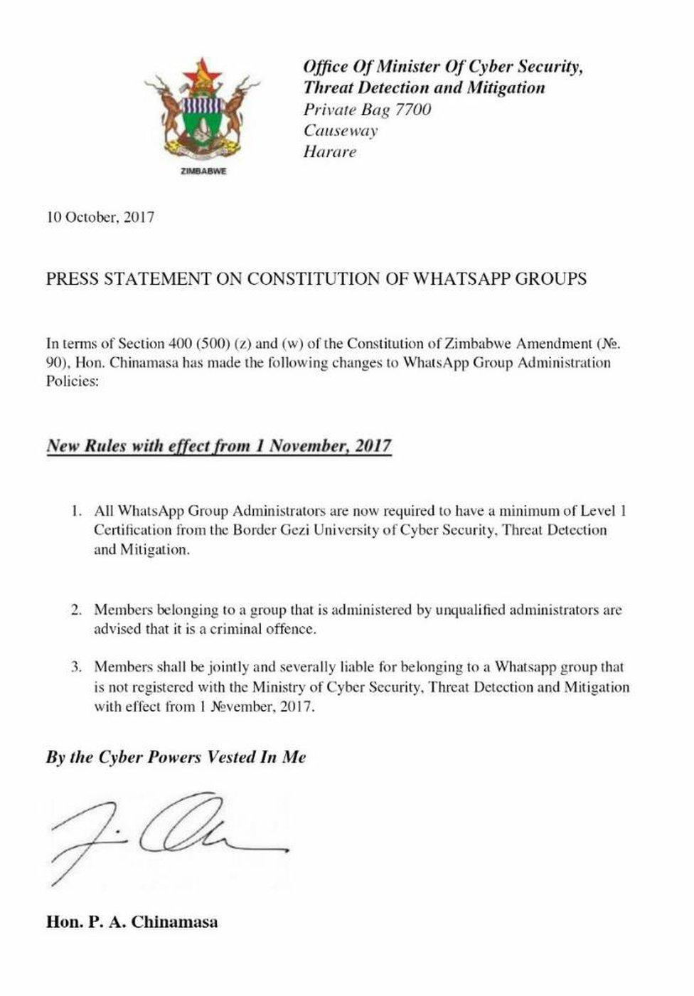 Carta parodiando nombramiento