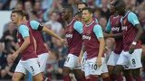 West Ham United players celebrate Enner Valencia's goal