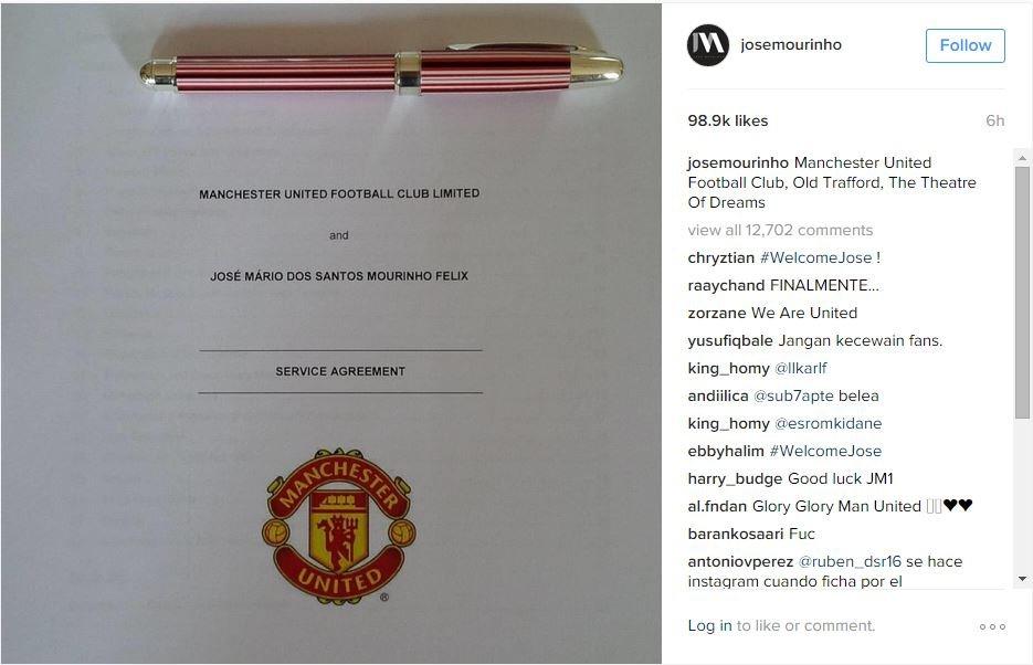 Jose Mourinho Instagram of Man U contract