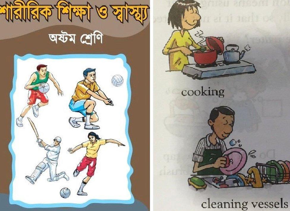 Un texto escolar en Bangladesh muestra a una jugadora de fútbol mientras que un hombre lava los platos en un texto indio.