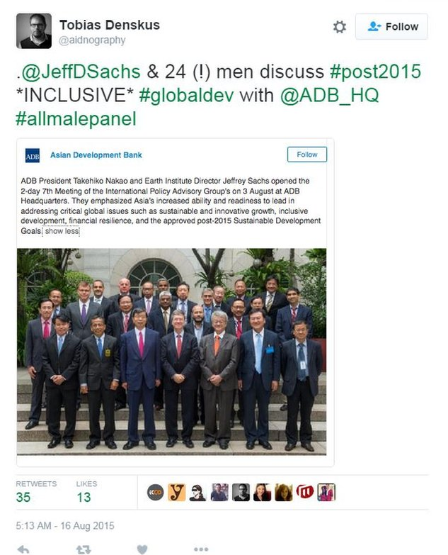 "Photo of 25 men speaking about ""inclusiveness"" at Asian Development Bank forum"