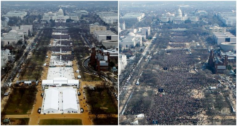 Las imágenes contrastan la asistencia de público a las tomas de posesión de Trump (izquierda) y de Obama (derecha).