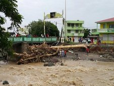 Storm damage is seen near a bridge in Roseau, Dominica