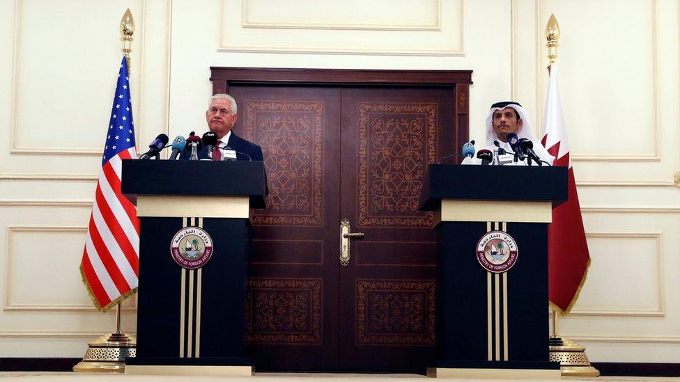 مؤتمر صحفي لوزير الخارجية الأمريكي والقطري في الدوحة