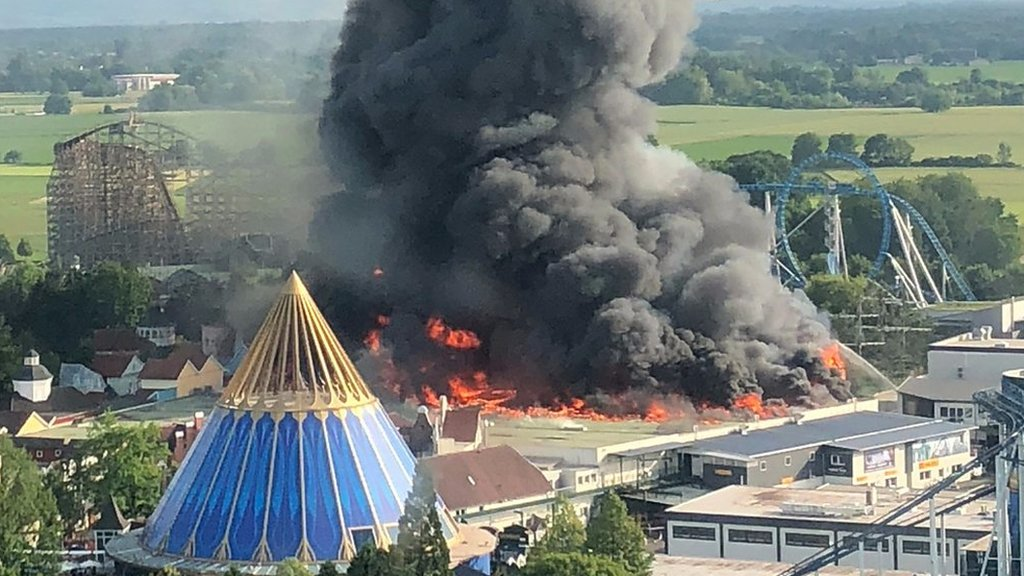 Huge fire at Germany's largest theme park