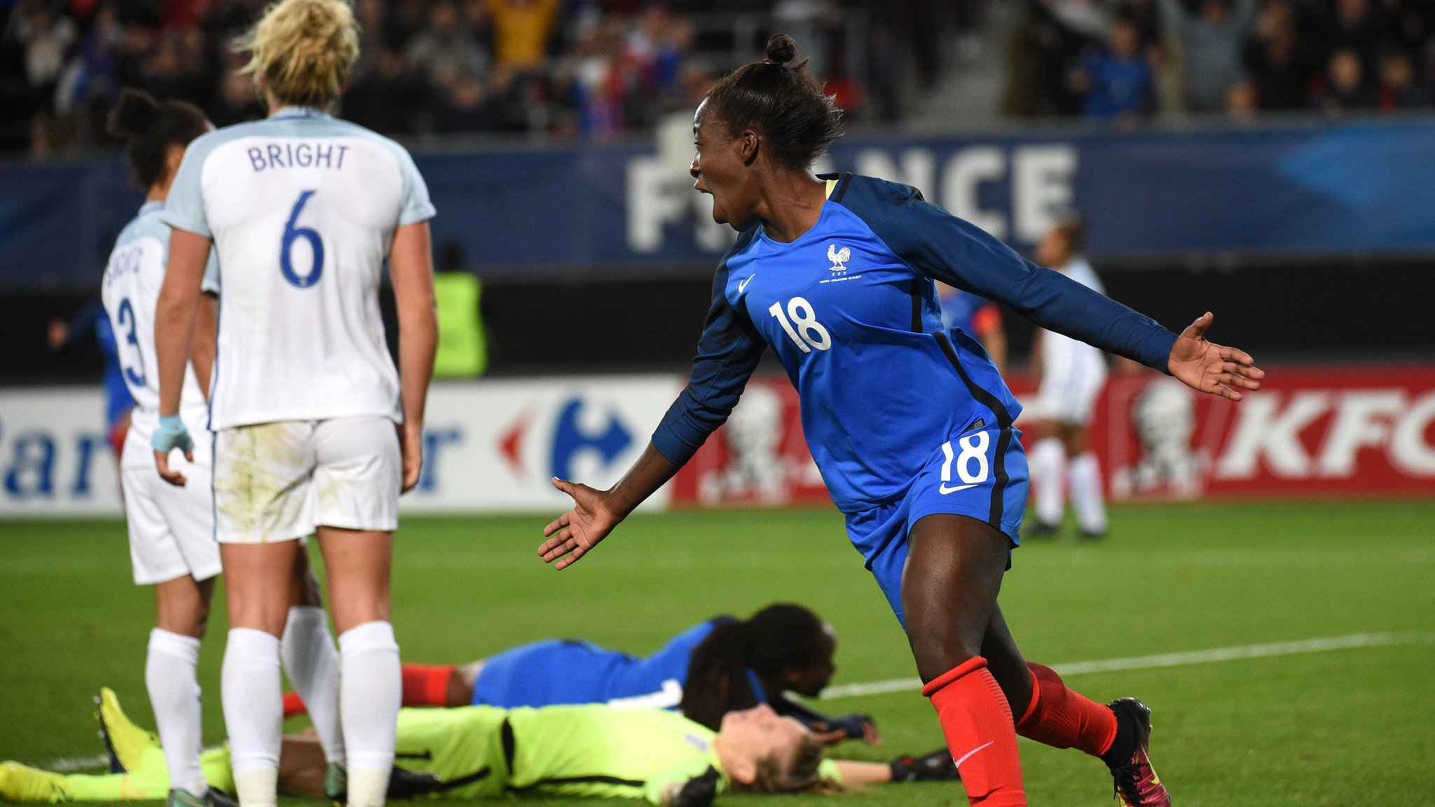 England lose to late France goal in Marley's first game in charge - report & highlights
