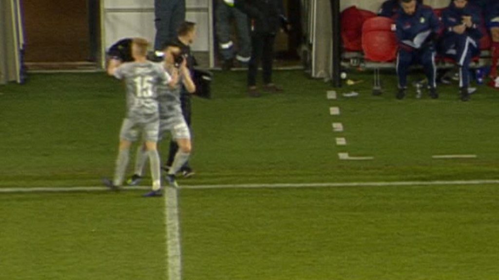 Watch: Substitute injured after being poked in the eye by his own team-mate