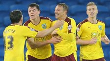 Burnley celebrate an unlikely draw against Cardiff