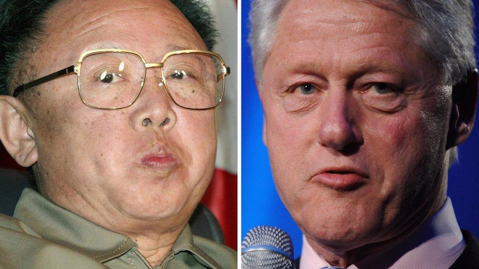 Kim Jong-il y Bill Clinton.