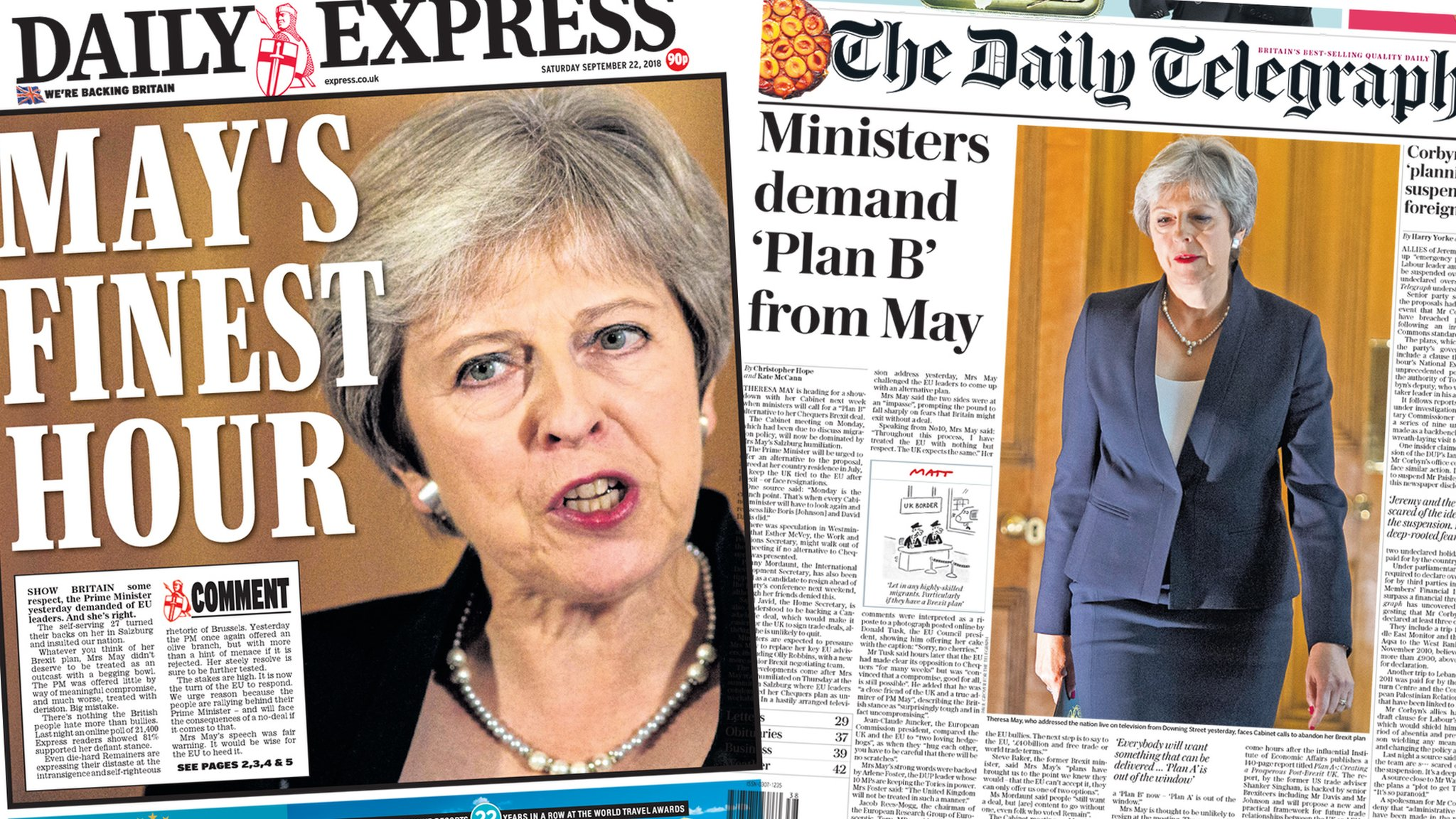 The Papers: 'Furious' May 'is not for turning'