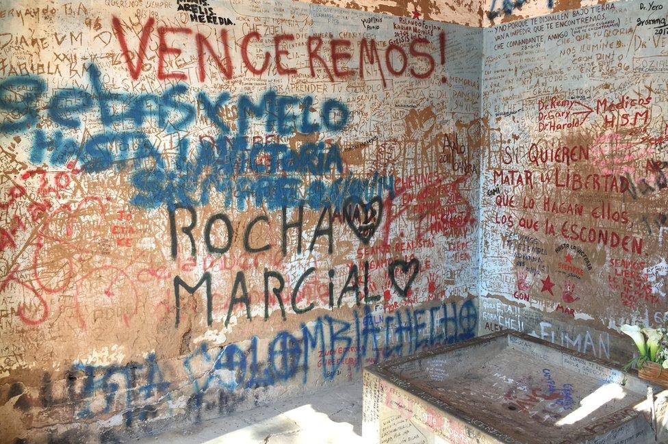 Grabados en la lavandería del Che en 2017