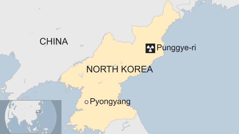 Map of North Korea shows Punggye-ri nuclear test site