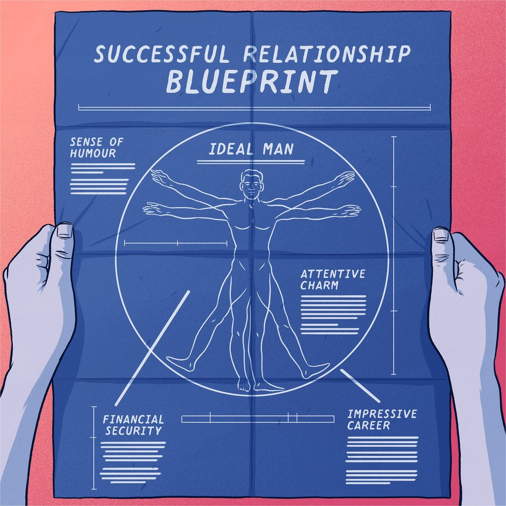 Illustration of a blue print showing an ideal man