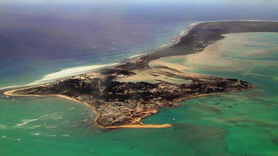 Aerial view of the island of Kiritimati in Kiribati