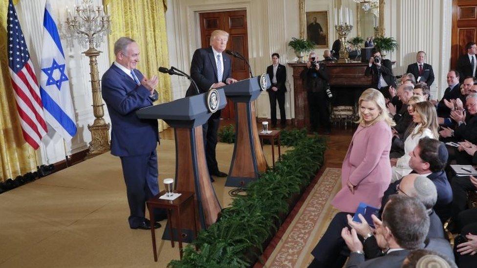 ترامب ونتانياهو في مؤتمر صحفي بالبيت الأبيض