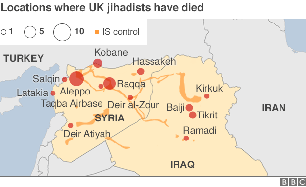 Map showing the locations where British jihadists have died, where information is available