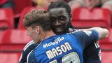 Goalscorers Kenwyne Jones and Joe Mason celebrate against Forest
