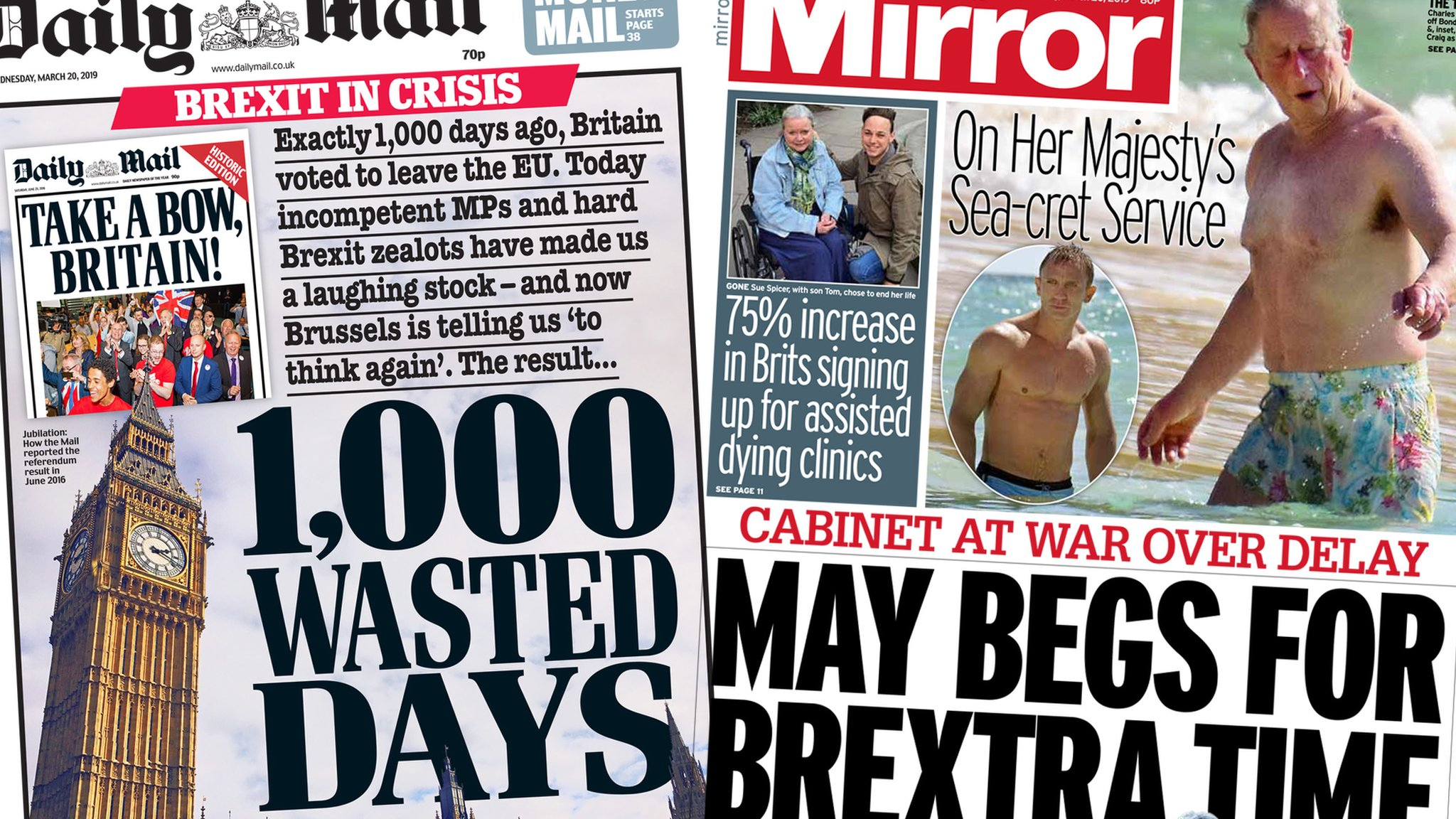 Newspaper headlines: Brexit 'crisis' and Prince Charles's beach body