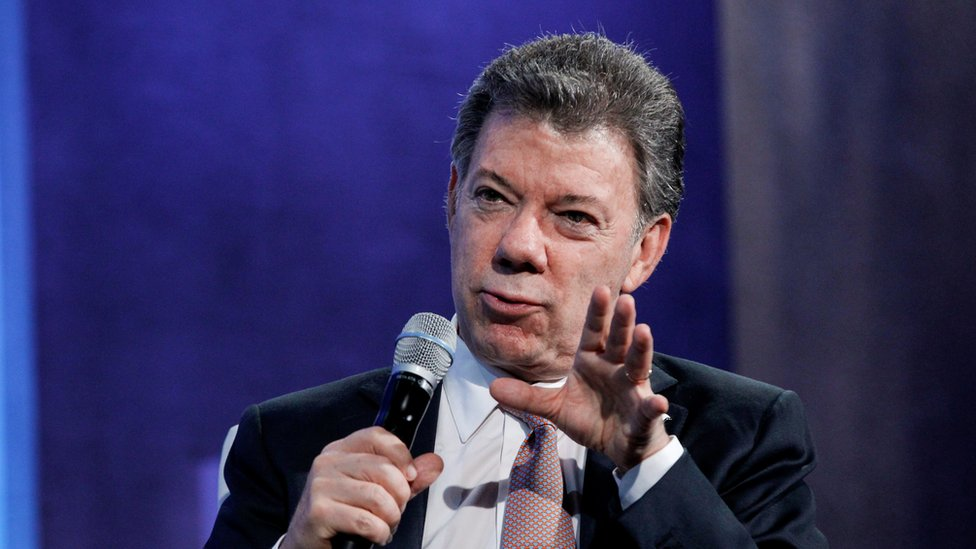 Colombian President Juan Manuel speaks at the Clinton Global Initiative 2015 meeting in New York.