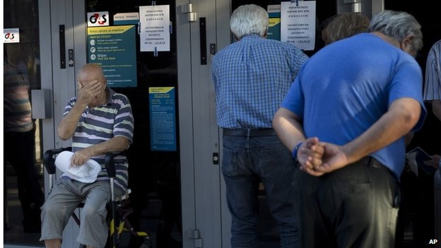 Pensioners queuing at Greek bank