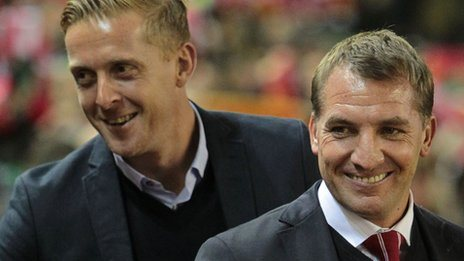 Garry Monk with Brendan Rodgers