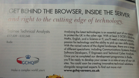Ad for GCHQ job