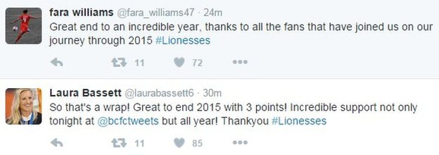 Fara Williams and Laura Bassett tweets