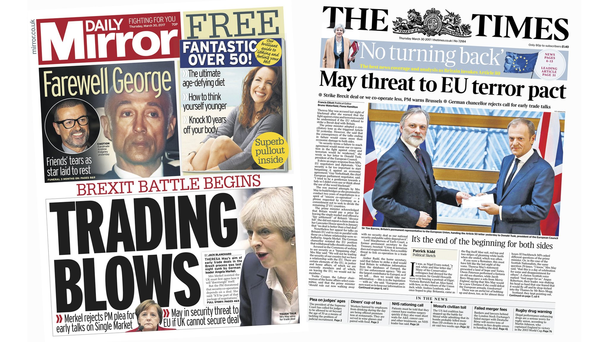 Newspaper headlines: Brexit 'breach' begins with a letter