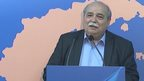 Greek Interior Minister Nikos Voutsis announces initial turnout figures in Greek referendum