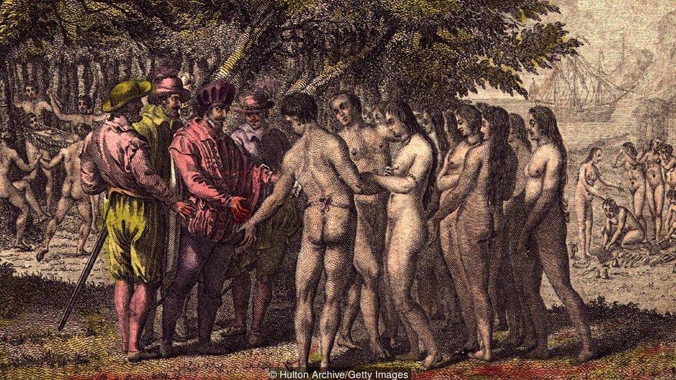 El conquistador español Hernán Cortés habla con aborígenes en Norte América.