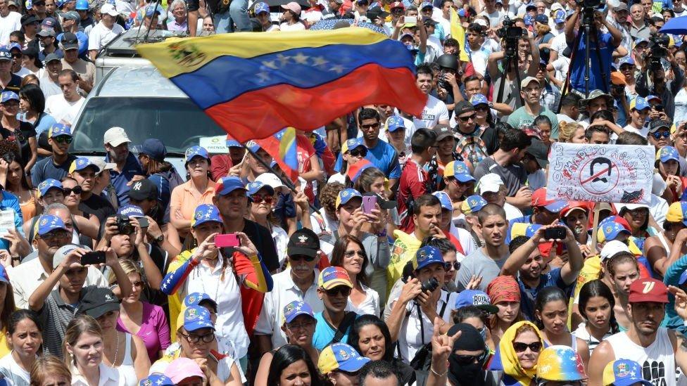 Protesta de a oposición en Venezuela.