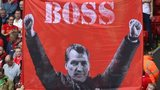 Liverpool fans with a banner of boss Brendan Rodgers in September 2014