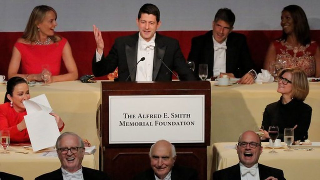 Republican speaker Ryan roasts Trump at charity dinner