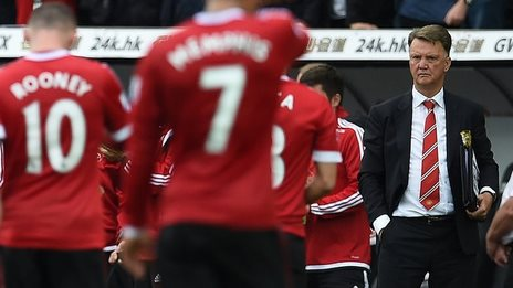 Louis van Gaal watches his Manchester United players after the defeat by Swansea