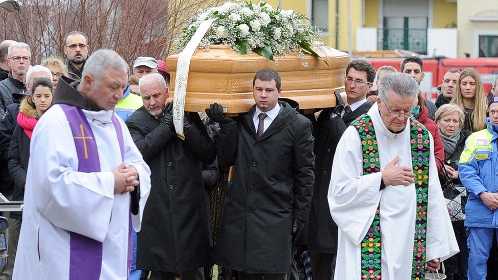 Regeni funeral in Fiumicello, northeastern Italy, 12 Feb 16