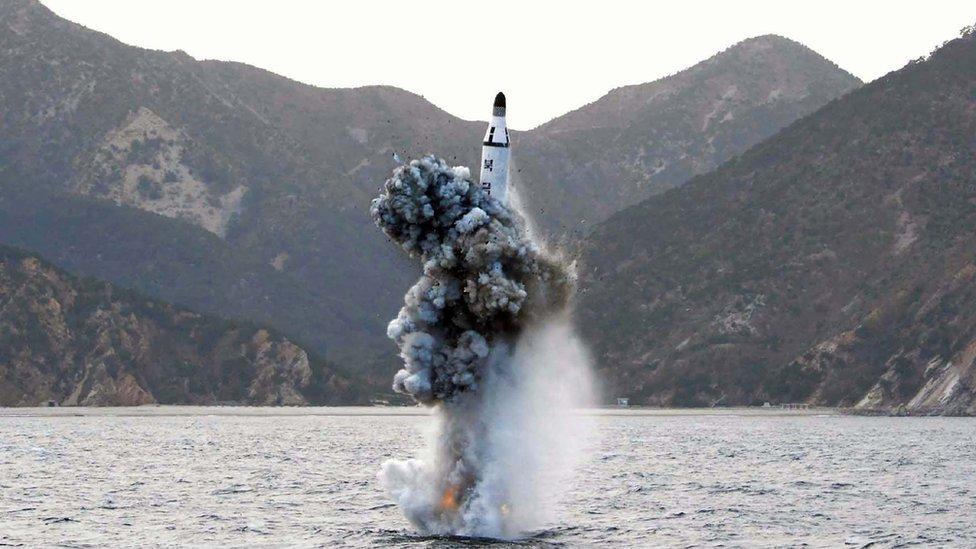 North Korea submarine fires ballistic missile
