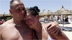 Couple at Sousse beach silence