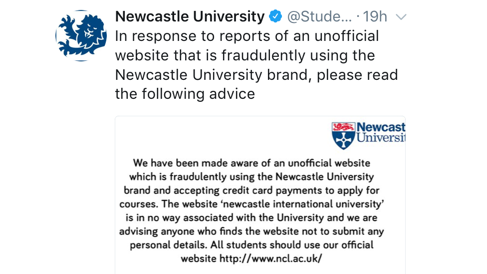 Newcastle University students targeted by cyber-scam