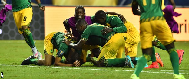 Jamaica players celebrate