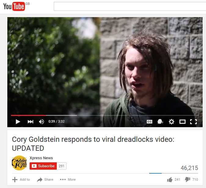 Cory Goldstein spoke to a local news outlet, Golden Gate Xpress, after the video went viral